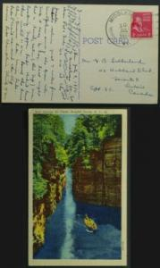 Ausable Chasm NY card postmarked Middlesex VT 1950