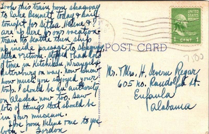 Trail of 1898 Alaska Gold Rush Train White Pass Yukon Route Postcard used 1948