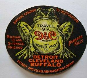 D&C Lake Lines Vintage Original Luggage Label Bull Frog Paper Transportation