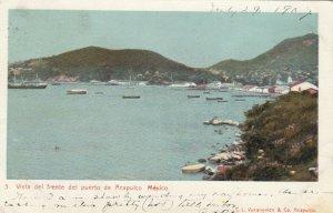 Vista del frente del puerto de ACAPULCO , Mexico , 1907
