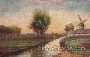 Sunset in Holland Windmill 1907 light crease left top edge, light corner wear