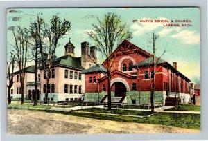 Lansing MI-Michigan, St. Mary's School & Church, Arch Entrance, Vintage Postcard