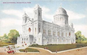 Minneapolis Minnesota~New Cathedral~Wide Steps in Front~Vintage Car-People~c1910