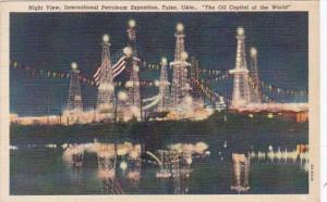 Oklahoma Tulsa Night View International Petroleum Exposition 1952 Curteich