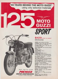 Moto Guzzi Sport 125 Motorcycle 1966 Print Ad