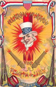 Hurrah 4th of July Independence Day Fire Crackers Uncle Sam Embossed Postcard