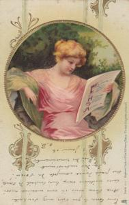 TUCK # 303; Portrait of lady reading a paper, PU-1906