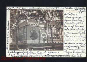 IDA GROVE IOWA DEWEY BUILDING ANTIQUE VINTAGE POSTCARD RPO CANCEL 1907
