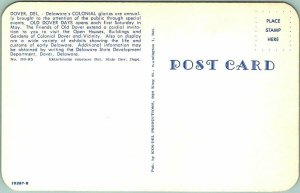 1950s DOVER, Delaware Postcard Historic Dover Old Dover Days / Horse Carriage
