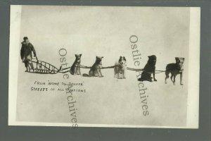 Alaska RPPC c1910 CROSS COUNTRY TRAVELER Dog Sled NOME TO DENVER Walker Dogs