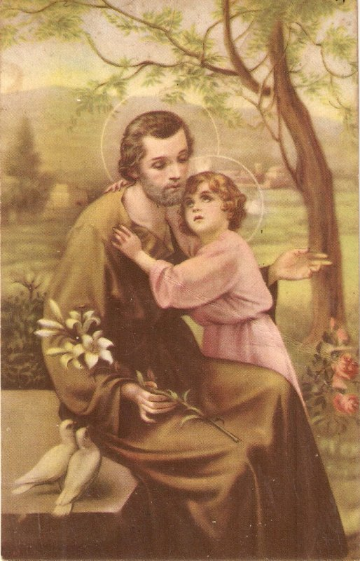 St. Joseph with Child Jesus Old vintage Spanish religious postcard