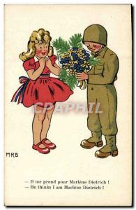 Old Postcard Militaria He takes me for Marlene Dietrich Theater