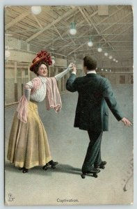 TUCK The Rollers Series~Rink~Victorian Roller Skating Couple~Captivation~1908