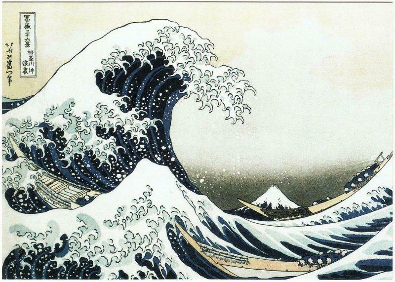 The Great Wave Off Kanagawa by Hokusai Japanese Ukiyo-e Art Postcard