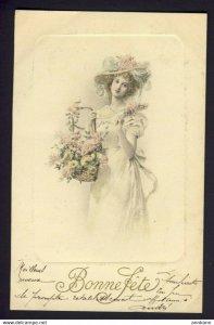 Blonde hair woman fancy hat basket lilac flowers hand colored - M.M. Vienne #276