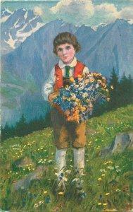 Paolo Kutscha Swiss lad boy spring flowers folk costume Switzerland