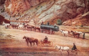 LPS03 Colorado Freighting on the Mountain Roads Mining ? Postcard