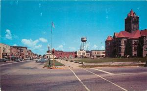 Rochester Indiana~Courthouse, Water Tower~Early 1950s Cars Postcard