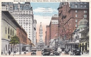 PHILADELPHIA, Pennsylvania, PU-1919; Broad Street, North from Spruce Street, ...