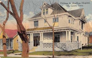 Ida Grove IA~Heilman & Houlihan Hospital~Nurses on Porch~Stone Latticework~1910