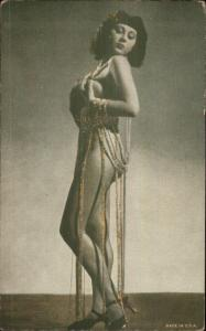 Semi-Nude Sexy Showgirl Pin-Up Exhibit Mutoscope Card - HOLDING BREASTS