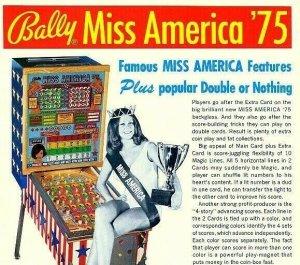 Miss America Pinball FLYER Original 1975 Bingo Game Art Pretty Lady Seated Bally