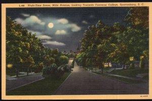 SC SPARTANBURG Night-Time Scene Mills Avenue towards Converse College - LINEN