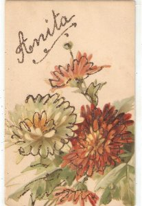 Beautiful flowers bouquet Nice old vintage French postcard