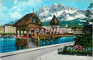 Postcard Modern Lucerne Chapel Bridge and Pilatus