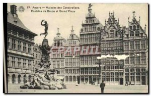 Old Postcard Bruges houses Fontaine Brabo Corporations and Grand Place