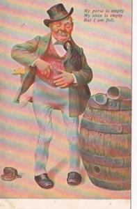 Humour Man With Keg My Purse Is Empty My Stein Is Empty But I Am Full