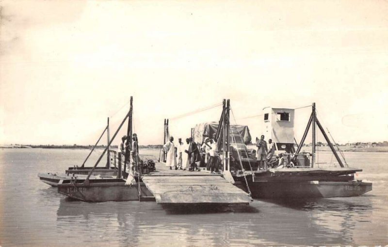 Fort Lamy Chad Africa Ferry Boat on Chari River Real Photo Postcard AA20300