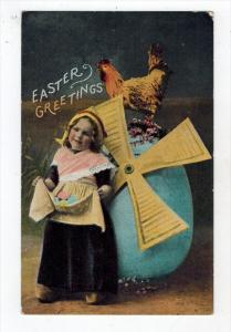 2295 Easter   Dutch Girl Flying Egg Rooster