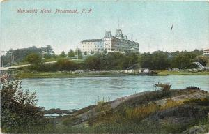 Portsmouth New Hampshire~Road to Wentworth Hotel~View Across River~1910 Postcard