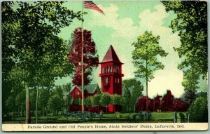 Lafayette, IN Postcard Parade Ground & Old People's Home, STATE SOLDIERS' HOME