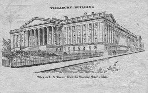 Macerated  Money Shredded U. S. Currency U. S. Treasury Building Postcard