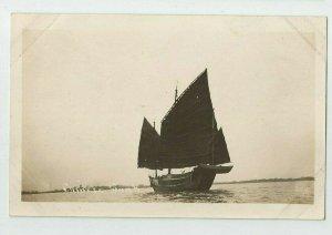 Real Photo Postcard ~~  Chinese Junk Sailboat ~ 1908