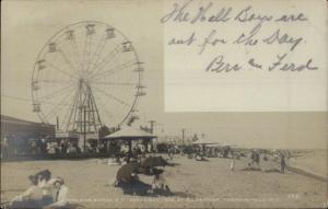 Midland Beach Tompkinsville Staten Island Ferris Wheel RPPC Postcard 1905