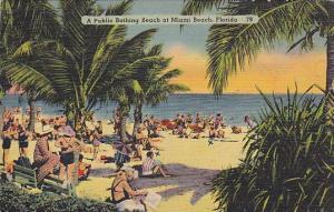 A Public Bathing Beach at Miami Beach,  Florida,  PU-30-40s