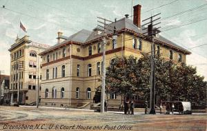 Greensboro North Carolina Post Office And Court House Antique Postcard K33664