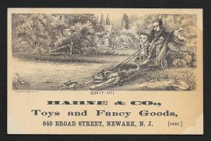 VICTORIAN TRADE CARD Hahne Fancy Goods Boys in Dog Drawn Cart 'Grit'