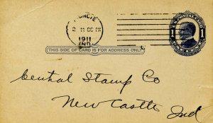 Postal History - 1910 McKinley UX21, 1¢ Blue. PM 1911, Muncie, IN