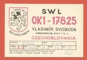 QSL AMATEUR RADIO CARD – ÚSTI NAD LABEM, CZECHOSLOVAKIA– 1972
