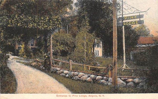 Entrance to Pine Lodge Angola, New York Postcard
