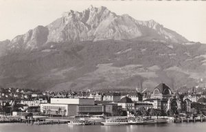 Switzerland Luzern Bahnhof Kongressgebaeude & Pilatus Real Photo sk4191