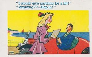 Hop In For A Lift Sexy Lady Hitchhike Hitch Hiking Rolls Royce Comic Postcard