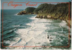 Oregon Coast, Heceta Head Lighthouse, seen from Sea Lion Caves, unused Postcard