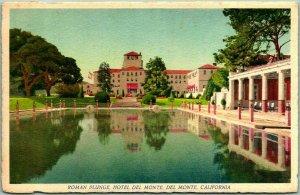 Monterey, California Postcard Roman Plunge, HOTEL DEL MONTE Swimming Pool 1943