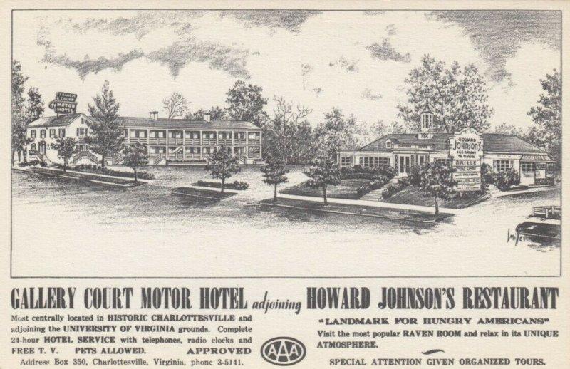 CHARLOTTESVILLE , Va. , 30-40s Howard Johnson's & Gallery Ct Motor Hotel