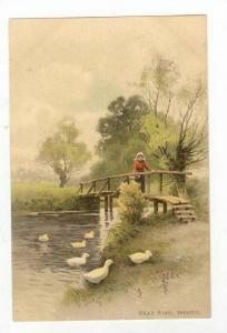 Woman Looking At The Ducks Near Wool, Dorset, England, United Kingdom, 1900-10s